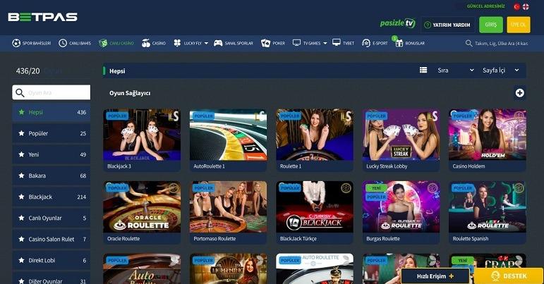 Betpas Canlı Casino Ekranı