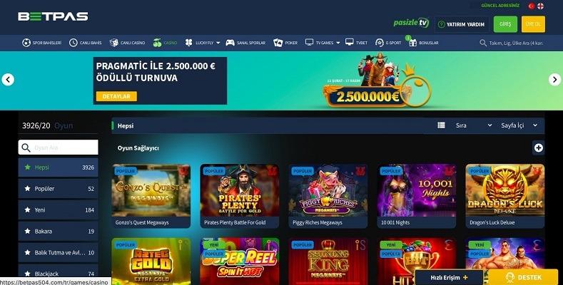 Betpas Slot Oyunları Ekranı